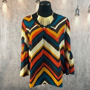 EUC Large Retro Style Blouse with Bell Sleeves